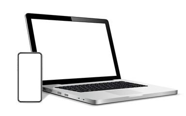 Modern smart phone and laptop blank screen