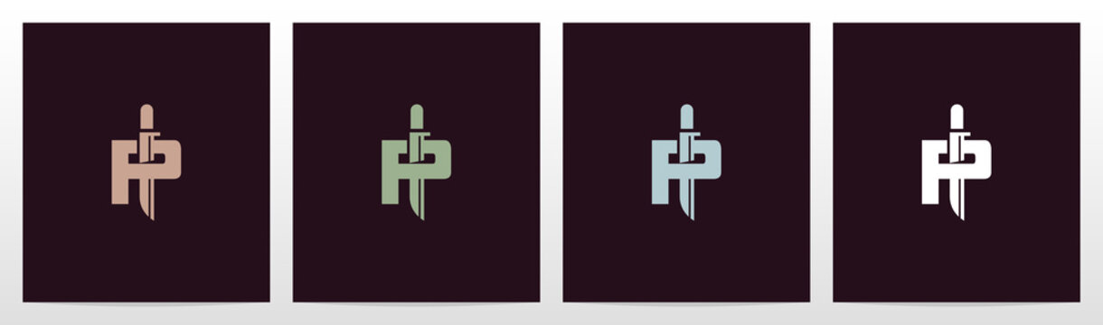 Tactical Knife On Letter Logo Design P