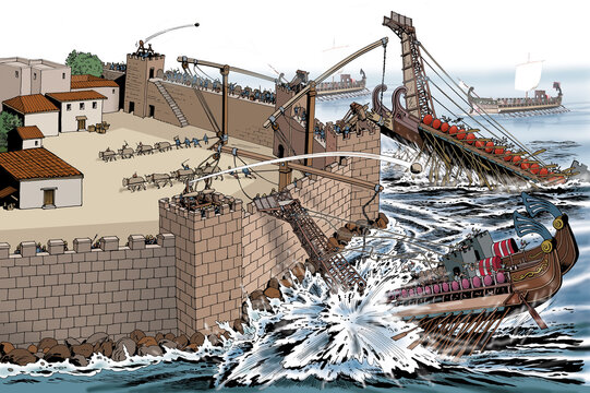 Ancient Rome - Syracuse, Roman ships attack against Archimedes' defensive machines