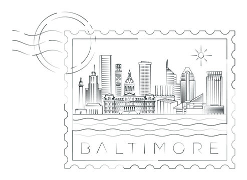 Baltimore stamp minimal linear vector illustration and typography design, Maryland, Usa