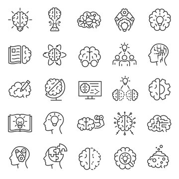 Knowledge, Intellect, iq, icon set. Logic, understanding, learning, linear icons. brainstorm, inventing ideas. Line with editable stroke