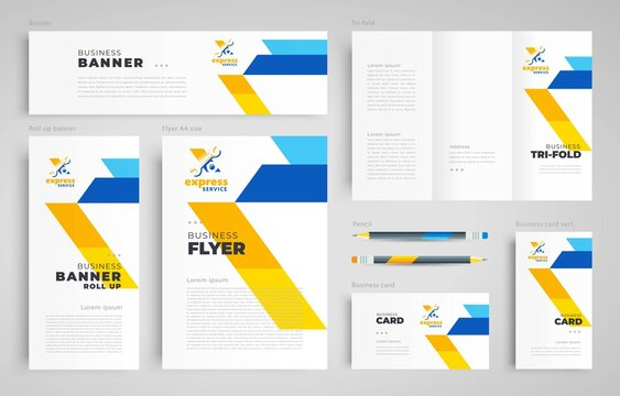 Express service repair Set flyer cover, tri-fold, banner, roll up banner, business card