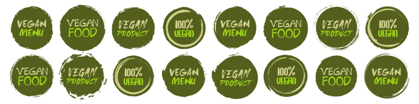 Vegan logo collection. Set of different grunge circles shapes label with different text