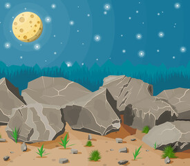 Pile of rock stone with grass on sand. Stones and rocks in variuos sizes. Set of different boulders. Night sky with stars and full moon. Vector illustration in flat style