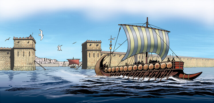 Ancient Greece - Phoenician ship leaves the city of Carthage