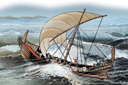Ancient Greece - Ionian Greek ship sails in stormy sea