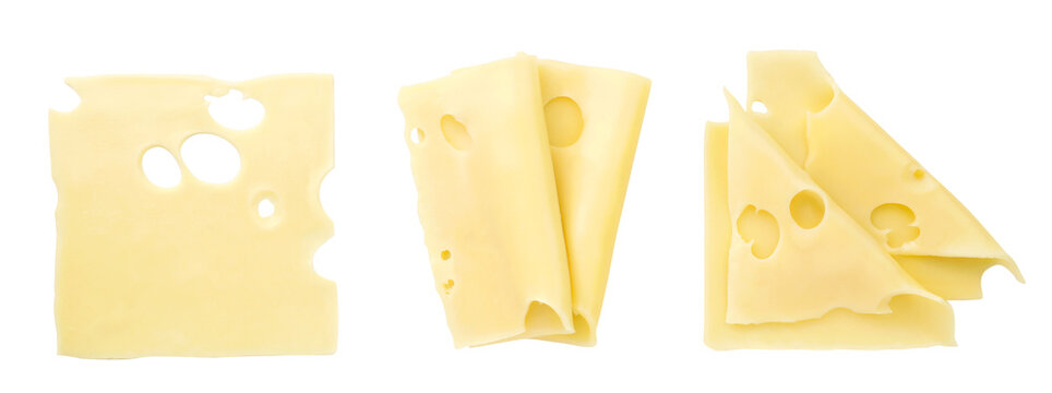 Set of cheese slices on a white background, isolated. The view from top