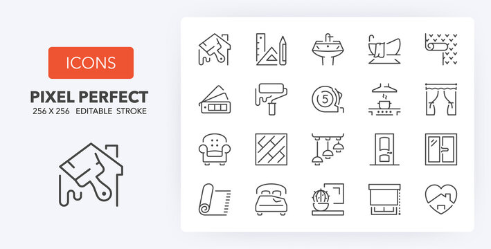 home decoration line icons 256 x 256