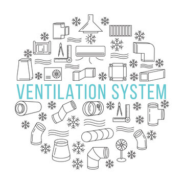 Circle banner with line icons of ventilation system on a white background. Round and rectangular ducts and fittings. Template for building company or store. In the center you can write any text