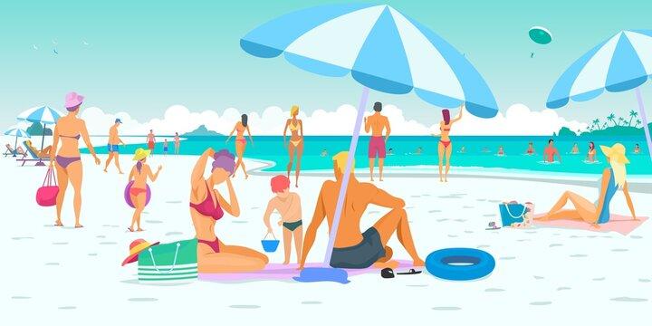 Summer vacation, people on the beach. Vacation, sea, sand, sun and sky. Vector illustration