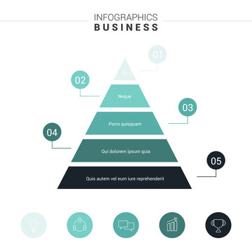 Pyramid Infographics. Funnel Pyramid with 5 charts