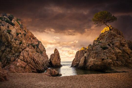 costa brava coast line with beautiful sunset