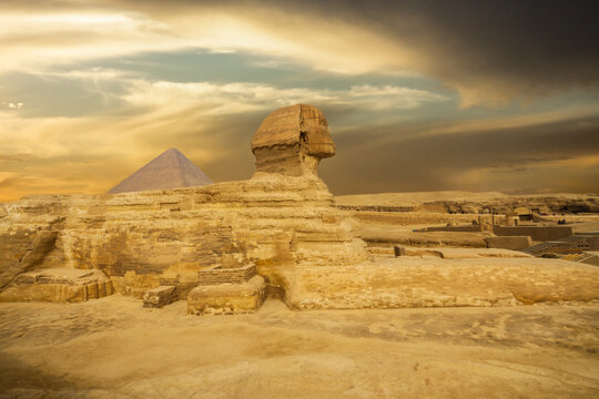 The great Sphinx of Giza in a beautiful moody sunset, Cairo, Egypt