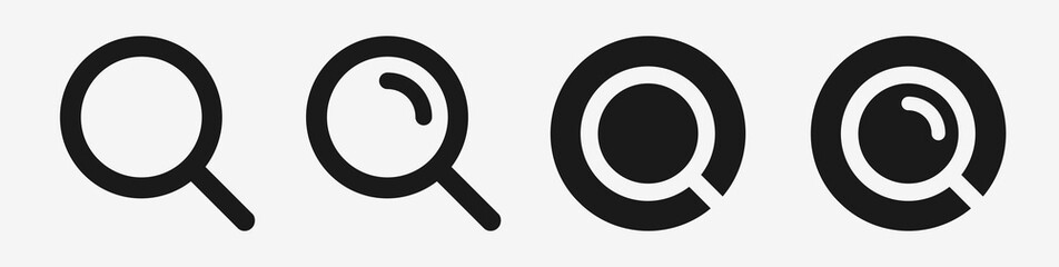 Magnifying glass vector icon set. Black search loupe icons on white background. Isolated flat and classic illustration Fotomurales