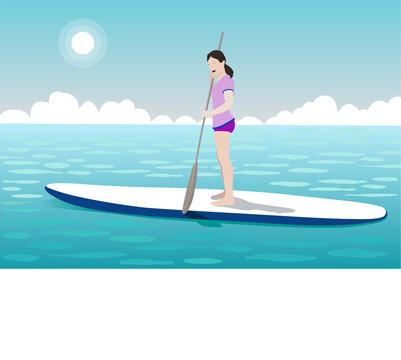 Sup board and girl at sea