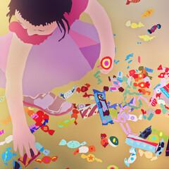 Fototapeta Mała dziewczynka zbierające rozsypane na ziemi cukierki słodycze obraz
