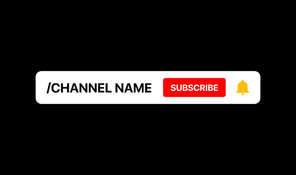 Youtube Channel Name Lower Third. Subscribe Button. Social Media Banner for Your Video On Black Background. Vector Illustration