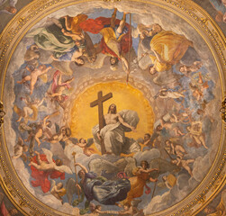 RAVENNA, ITALY - JANUARY 28, 2020: The freco Glory of Resurected Jesus from the cupola of side chapel in Duomo (cathedral) by Guido Reni (1575 - 1642).