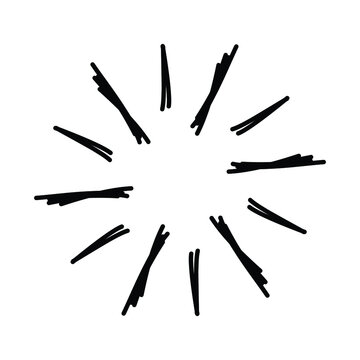Vintage sunburst, explosion doodles isolated on white background EPS Vector Abstract