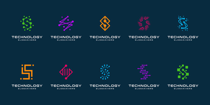 Set of technology letter S dot logo design and business card. initial S for symbol tech, internet, system, Artificial Intelligence and computer. inspiration logo design modern.