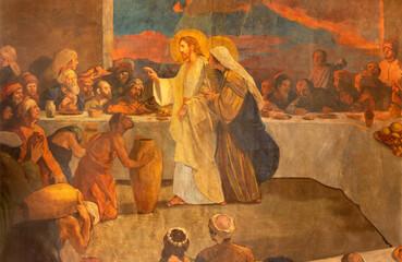 BARCELONA, SPAIN - MARCH 3, 2020: The modern painting of Glory of Heart of Jesus in the church Santuario Nuestra Senora del Sagrado Corazon by Francisco Labarta (20. cent.).