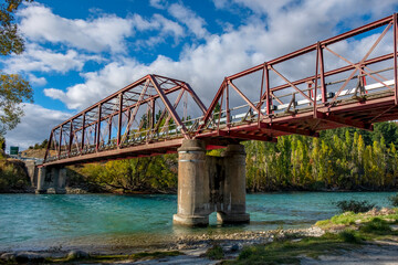 The Red Bridge on Highway 8A where it crosses the Upper Clutha River, South Island, New Zealand