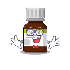 Wall Mural - A cartoon drawing of geek antibiotic bottle wearing weird glasses