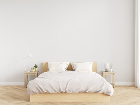 Minimal bedroom wall mock up with wooden side table on wooden floor. 3d illustration.