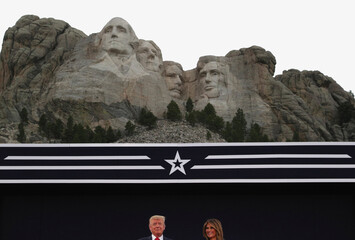 U.S. President Trump and first lady Melania Trump attend South Dakota's U.S. Independence Day Mount Rushmore fireworks celebrations at Mt. Rushmore in South Dakota
