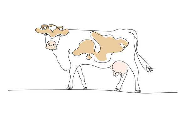 One line cow design silhouette and rural meadow on mountain background.