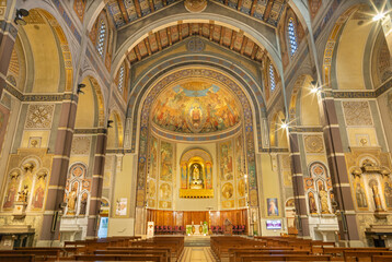 BARCELONA, SPAIN - MARCH 3, 2020: The nave of church Parroquia Santa Teresa de l'Infant Jesuswith the frescoes by Francisco Labarta (20. cent.).