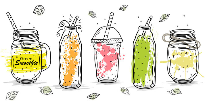 Smoothies or detox cocktail day poster in doodle style.