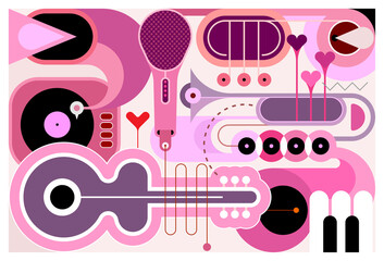 Foto op Canvas Abstractie Art Abstract music background. Flat design of different musical instruments, vector illustration. Acoustic guitar, saxophone, piano keys, trumpets, microphone and gramophone.