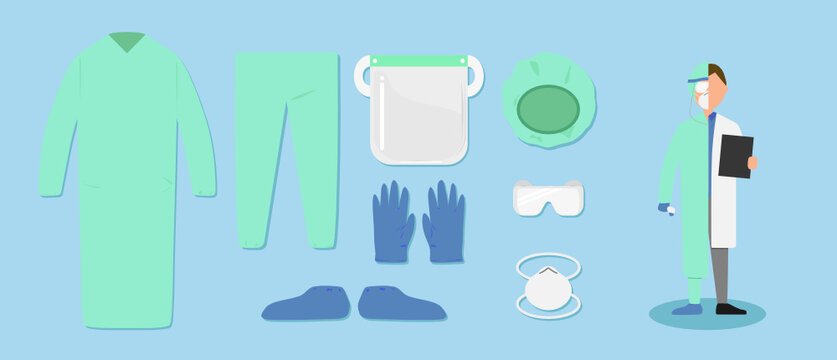 Vector set of medical personal protective equipment as disposable hairnet cap, respiratory mask, safety goggle glasses, face shield, gloves, shoe covers, pants and protection gown for Covid concept