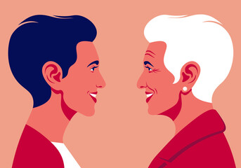 Profiles of an elderly woman and young woman. The faces is on the side view. Avatar. Vector Flat Illustration