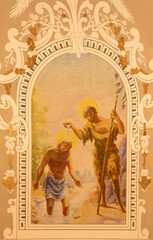 BARCELONA, SPAIN - MARCH 3, 2020: The modern fresco of Baptism of Jesus in the churchIglesia Santa Maria de Gracia de Jesus.
