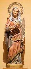 BARCELONA, SPAIN - MARCH 3, 2020: The carved polychrome sculpture of St. Lucy of the church Iglesia Santa Maria de Gracia de Jesus.
