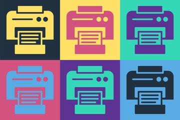 Photo sur Plexiglas Pop Art Pop art Printer icon isolated on color background. Vector Illustration.
