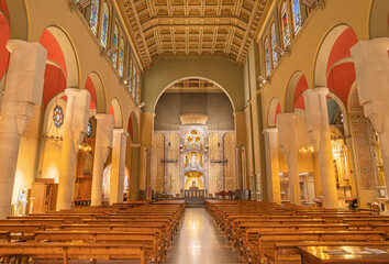 BARCELONA, SPAIN - MARCH 3, 2020: The nave of the church Iglesia Santa Maria de Gracia de Jesus.