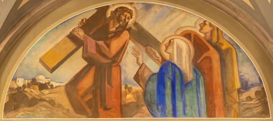BARCELONA, SPAIN - MARCH 3, 2020: The fresco of meet his mother Mary (cross way station) in the church Santuario Nuestra Senora del Sagrado Corazon by Francesc Labarta (1960).