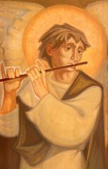 BARCELONA, SPAIN - MARCH 3, 2020: The painting of angel plaing on the flute in the church Santuario Nuestra Senora del Sagrado Corazon by Navarro Perez-Dolz (1989).