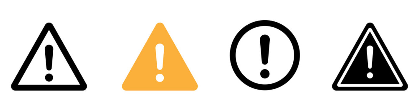 Caution warning signs. Exclamation danger sign. Warnings, attention sumbol. Triangle warning flat style - stock vector.