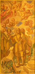 BARCELONA, SPAIN - MARCH 3, 2020: The painting of Old Testament patriarch in the church Santuario Nuestra Senora del Sagrado Corazon by Francesc Labarta (1960).