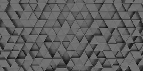 Horizontal texture and background of black volumetric equilateral triangles. Black background. 3
