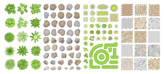 Tuinposter Wit Set of park elements. (Top view) Collection for landscape design, plan, maps. (View from above) Pavements, stones, trees, flower beds.