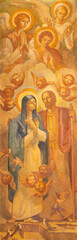 BARCELONA, SPAIN - MARCH 3, 2020: The painting of holy pair Virgin Mary and St. Joseph in the church Santuario Nuestra Senora del Sagrado Corazon by Francesc Labarta (1960).