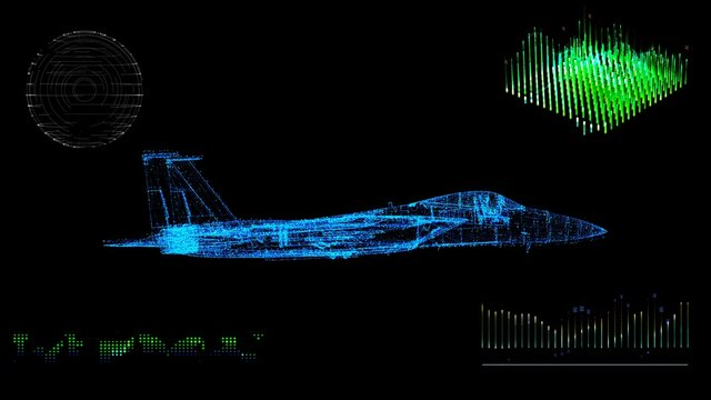 A animated 3d blue print model of a fighter jet in Space