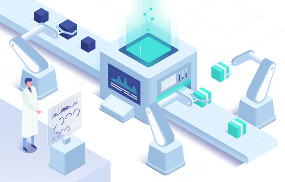 Isometric vector illustration of automation in manufacturing