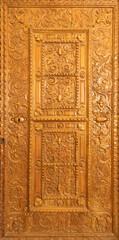 BARCELONA, SPAIN - MARCH 3, 2020: The carved door in the chruch Iglesia de Belen.