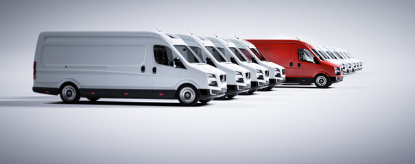 Papiers peints Pierre, Sable Red commercial van and fleet of white trucks. Transport. Transport and shipping